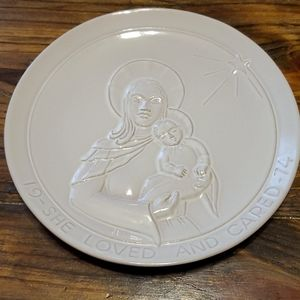 Frankoma 1974 Christmas Plate She Loved and Cared
